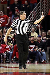 28 January 2015:   Paul Janssen signals a number to the official scorer during an NCAA MVC (Missouri Valley Conference) men's basketball game between the Missouri State Bears and the Illinois State Redbirds at Redbird Arena in Normal Illinois