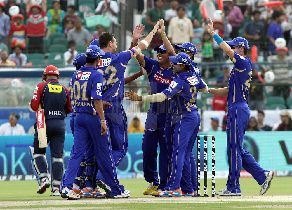 Team Rajasthan Royals celebrate after a wicket during match 7 of the the Indian Premier League ( IPL ) Season 4 between the Rajasthan Royals and the Delhi Daredevils held at the Sawai Mansingh Stadium, Jaipur, Rajasthan, India on the 12th April 2011..Photo by BCCI/SPORTZPICS