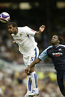 Photo: Aidan Ellis.<br /> Leeds United v Swansea City. Coca Cola League 1. 22/09/<br /> 2007. <br /> Leeds Rui Marquez beats Swansea's Jason Scotland to the ball