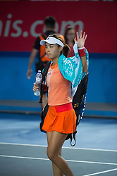 October 14, 2017 - Hong Kong, Hong Kong SAR, China - Wang Qiang waves as she leaves the court.China's Wang Qiang looses to Russia's Anastasia Pavlyuchenkova during their women's singles semi-final match at the Hong Kong Open tennis tournament on October 14, 2017. (Credit Image: © Jayne Russell via ZUMA Wire)