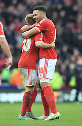 Nottingham Forest's Ben Osborn celebrates his goal with Nottingham Forest's Jamaal Lascelles - Photo mandatory by-line: Dougie Allward/JMP - Mobile: 07966 386802 - 17/01/2015 - SPORT - Football - Derby - iPro Stadium - Derby County v Nottingham Forest - Sky Bet Championship