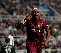 Photo: Jed Wee.<br /> Newcastle United v Bolton Wanderers. The Barclays Premiership. 15/10/2006.<br /> <br /> Bolton's El Hadji Diouf celebrates his second goal.