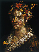 Flora', still life c1591. Flora's portrait is composed of a multitude of flowers and leaves.  Oil on canvas. Guiseppe Arcimboldo (c1530-1593) Italian painter.