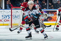 KELOWNA, BC - FEBRUARY 15: Pavel Novak #11 of the Kelowna Rockets looks for the pass the Red Deer Rebels at Prospera Place on February 15, 2020 in Kelowna, Canada. (Photo by Marissa Baecker/Shoot the Breeze)