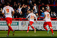 Jimmy Smith of Stevenage (centre) celebrates scoring the opening goal during the Sky Bet League 1 match at the Lamex Stadium, Stevenage<br /> Picture by David Horn/Focus Images Ltd +44 7545 970036<br /> 08/03/2014