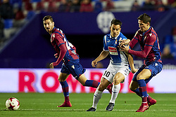 January 11, 2018 - Valencia, Valencia, Spain - Jurado (C) of RCD Espanyol competes for the ball with Lukic (R) and Campana of Levante UD during the Copa del Rey Round of 16, second leg game between Levante UD and RCD Espanyol at Ciutat de Valencia stadium on January 11, 2018 in Valencia, Spain  (Credit Image: © David Aliaga/NurPhoto via ZUMA Press)
