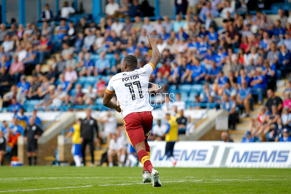 Bradford City Forward Dominic Poleon (11) celebrates his goal (score 0-1) during the EFL Sky Bet League 1 match between Gillingham and Bradford City at the MEMS Priestfield Stadium, Gillingham, England on 12 August 2017. Photo by Andy Walter.