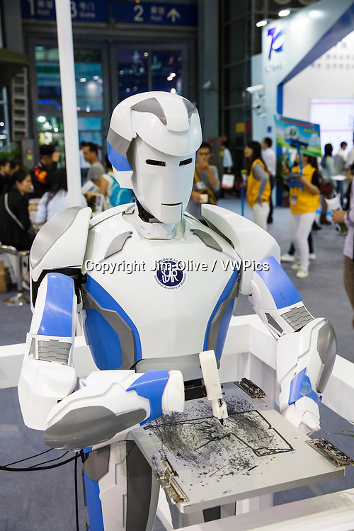 Robots and gadgets showing at the shenzn high tech fair.