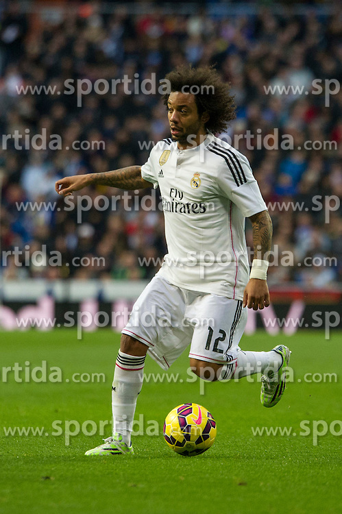 14.02.2015, Estadio Santiago Bernabeu, Madrid, ESP, Primera Division, Real Madrid vs Deportivo La Coruna, 23. Runde, im Bild Real Madrid&acute;s Marcelo Vieira // during the Spanish Primera Division 23rd round match between Real Madrid vs Deportivo La Coruna at the Estadio Santiago Bernabeu in Madrid, Spain on 2015/02/14. EXPA Pictures &copy; 2015, PhotoCredit: EXPA/ Alterphotos/ Luis Fernandez<br /> <br /> *****ATTENTION - OUT of ESP, SUI*****
