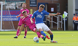 Josh Knight of Peterborough United is tackled by Aaron Morley of Rochdale - Mandatory by-line: Joe Dent/JMP - 14/09/2019 - FOOTBALL - Weston Homes Stadium - Peterborough, England - Peterborough United v Rochdale - Sky Bet League One
