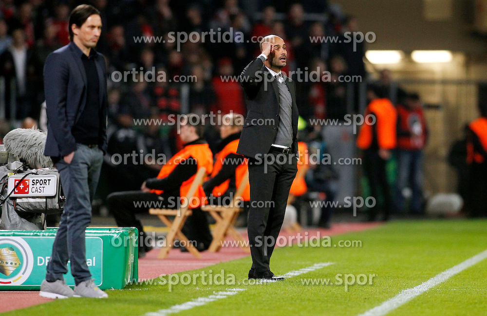 08.04.2015, BayArena, Leverkusen, GER, DFB Pokal, Bayer 04 Leverkusen vs FC Bayern Muenchen, Viertelfinale, im Bild Trainer Pep Guardiola (FC Bayern Muenchen) // during the German DFB Pokal quarter final match between Bayer 04 Leverkusen and FC Bayern Munich at the BayArena in Leverkusen, Germany on 2015/04/08. EXPA Pictures &copy; 2015, PhotoCredit: EXPA/ Eibner-Pressefoto/ Schueler<br /> <br /> *****ATTENTION - OUT of GER*****