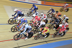 March 2, 2018 - Apeldoorn, NETHERLANDS - Belgian Lotte Kopecky (L front) pictured in action during the Elimination Race part of the omnium women event at the 2018 world championships track cycling in Apeldoorn, the Netherlands, Friday 02 March 2018. The track cycling worlds take place from 28 February to 04 March. BELGA PHOTO YORICK JANSENS (Credit Image: © Yorick Jansens/Belga via ZUMA Press)