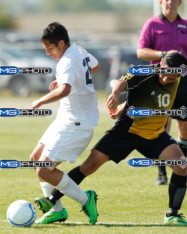 "May 10, 2014; Huntsville, AL, USA;  Homewood Roger Castro (25) tries to get the ball away from Fort Payne Juan ""Chema "" Gallegos (10) during the 5A Boys State Soccer Championship at John Hunt Soccer Complex. Mandatory Credit: Marvin Gentry"