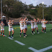 BERKELEY, CA - NOVEMBER 08:  California players salute the fans after winning the PAC Rugby 7's Championship between UCLA and California at Witter Rugby Field at the University of California on November 8, 2015 in Berkeley, California. California won the match by a score of 17-5. (Photo by Alex Menendez/Getty Images) *** Local Caption ***