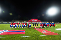 October 5, 2017 - San Marino, SAN MARINO - 171005 The two teams line up ahead of the FIFA World Cup Qualifier match between San Marino and Norway on October 5, 2017 in San Marino. .Photo: Fredrik Varfjell / BILDBYRN / kod FV / 150027 (Credit Image: © Fredrik Varfjell/Bildbyran via ZUMA Wire)