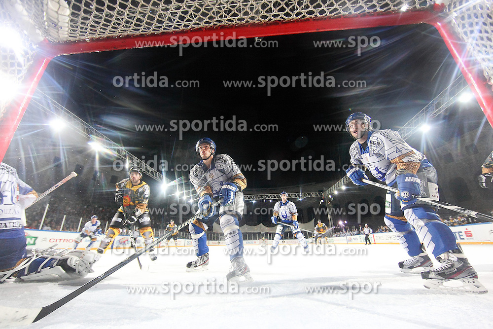 16.09.2012, Amphitheater, Pula, CRO, EBEL, Ice Fever, KHL Medvescak Zagreb vs UPC Vienna Capitals, 04. Runde, im Bild Dennis Bozic, Kenneth Macaulay // during the Erste Bank Icehockey League 04th Round match betweeen KHL Medvescak Zagreb and UPC Vienna Capitals at the Amphitheater, Pula, Croatia on 2012/09/16. EXPA Pictures © 2012, PhotoCredit: EXPA/ Pixsell/ Zeljko Lukunic ****** ATTENTION - OUT OF CRO, SRB, MAZ, BIH and POL *****