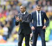 Brighton manager Chris Hughton during the Sky Bet Championship match between Brighton and Hove Albion and Watford at the American Express Community Stadium, Brighton and Hove, England on 25 April 2015.