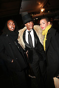l to Lamoh, Dwight Eubanks and Miyako Johnson at the 2010 Mercedes Benz Fall Fashion Week held at Bryant Park on February 12, 2010 in New York City