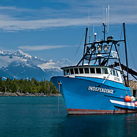 The crabber/tender vessel, Independence, sits on anchor while buying salmon for Copper River Seafoods in the Coghill River lagoon, part of College Fiord, in Alaska's Prince William Sound.