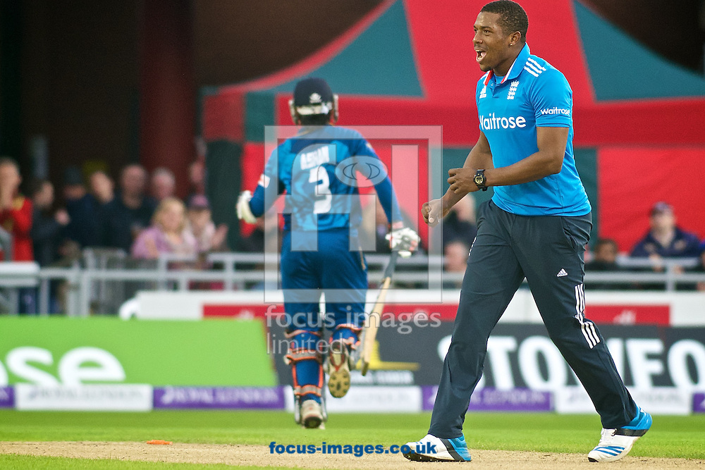 Chris Jordan of England celebrates after Ashan Priyanjan of Sri Lanka is run out during the Royal London One Day Series match at Old Trafford Cricket Ground, Stretford<br /> Picture by Ian Wadkins/Focus Images Ltd +44 7877 568959<br /> 28/05/2014