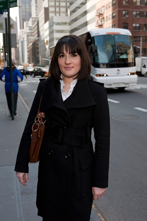 Nazli Oguzsimsaroglu en route to a job interview in NYC, 3/25/09.