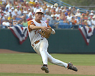 Texas second basemen Robby Hudson throws the ball to first base for the out against Florida.  Texas defeated Florida 6-2 for the National Championship at the College World Series at Rosenblatt Stadium in Omaha, Nebraska on June 26, 2005.