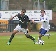 Dundee's Luka Tankulic goes past Peterhead's Scott Ross- Dundee v Peterhead, League Cup at Dens Park<br /> <br />  - &copy; David Young - www.davidyoungphoto.co.uk - email: davidyoungphoto@gmail.com