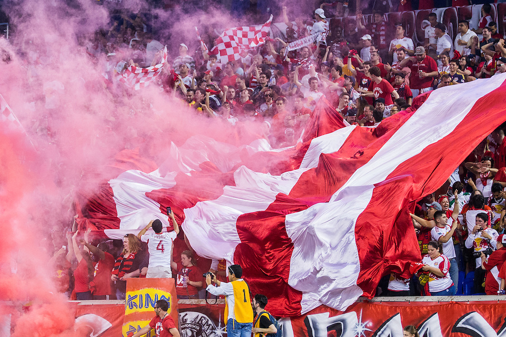 HARRISON, NJ - MAY 10: New York Red Bulls fans cheer during the game against the New York City FC at Red Bulls Arena on May 10, 2015 in Harrison, New Jersey. (Photo By: Rob Tringali)