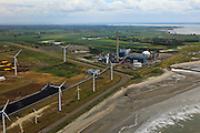 Nederland, Zeeland, Borssele, 22-05-2011; .Kerncentrale en kolencentrale en windmolens. Coal and nuclear power plant and windmills in south-west Netherlands..luchtfoto (toeslag), aerial photo (additional fee required).foto/photo Siebe Swart