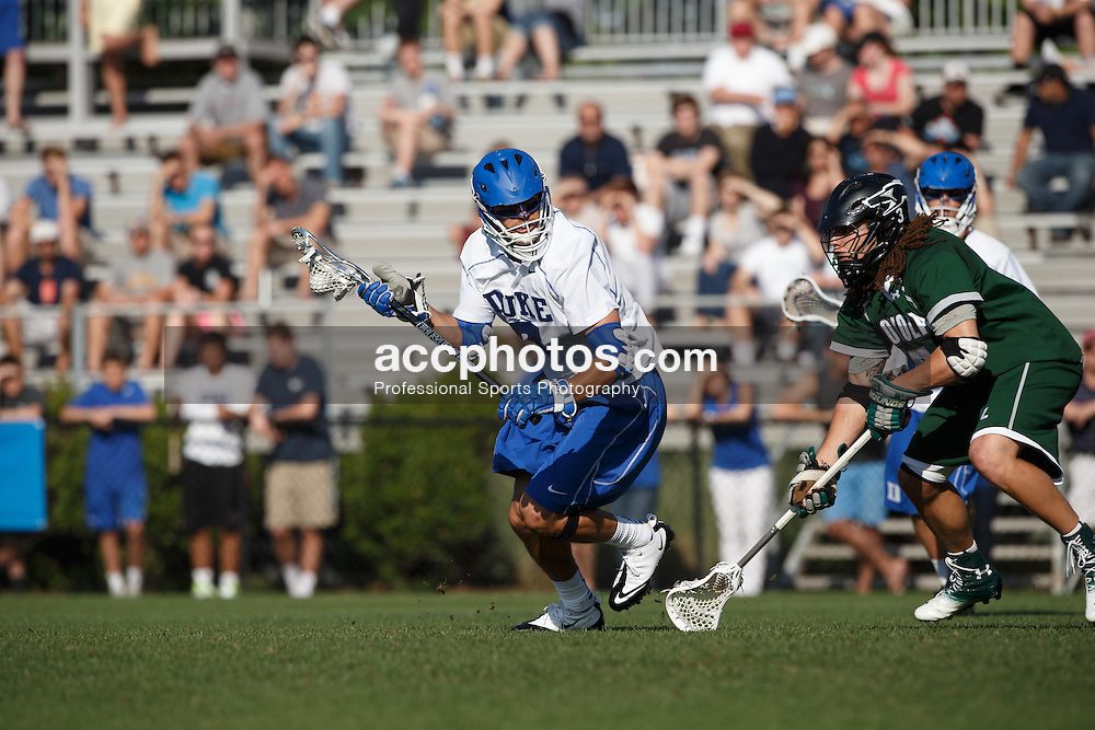 2013 May 12: Jake Tripucka #7 of the Duke Blue Devils during a 11-12 overtime win over the Loyola Greyhounds at Koskinen Stadium in Durham, NC.