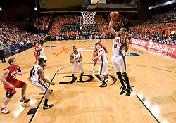 Virginia forward Adrian Joseph (30) grabs a rebound against UMD.  The Virginia Cavaliers defeated the Maryland Terrapins 91-76 at the University of Virginia's John Paul Jones Arena  in Charlottesville, VA on March 9, 2008.