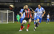 AFC Bournemouth midfielder Marc Pugh on the ball during the Sky Bet Championship match between Brighton and Hove Albion and Bournemouth at the American Express Community Stadium, Brighton and Hove, England on 10 April 2015. Photo by Phil Duncan.