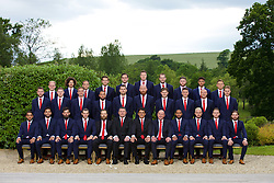 CARDIFF, WALES - Wednesday, June 1, 2016: Wales players line up for a team group photograph at the Vale Resort Hotel ahead of the UEFA Euro 2016 Championships in France. Back row L-R: George Williams, Ethan Ampadu, David Vaughan, goalkeeper Chris Maxwell, goalkeeper Daniel Ward, goalkeeper Wayne Hennessey, goalkeeper Owain Fon Williams, Wes Burns, Tyler Roberts, George Williams. Middle row L-R: Paul Dummett, Simon Church, Andy King, Ashley 'Jazz' Richards, Sam Vokes, James Collins, Ben Davies, James Chester, David Cotterill, David Edwards. Front row L-R:  Neil Taylor, Hal Robson-Kanu, Joe Ledley, Gareth Bale, Jamie Benito Plans,assistant manager Osian Roberts, manager Chris Coleman, head of pubic affairs Ian Gwyn Hughes, captain Ashley Williams, Aaron Ramsey, Chris Gunter, Joe Allen. (Pic by David Rawcliffe/Propaganda)