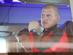 BANGKOK, THAILAND - Monday, July 13, 2015: Liverpool's Martin Skrtel on the team bus at Bangkok's Suvarnabhumi Airport as the team arrive in Thailand for the start of the club's preseason tour. (Pic by David Rawcliffe/Propaganda)