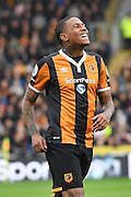 Hull City striker Abel Hernandez (9) in dispair at missing shot at goal  during the Premier League match between Hull City and Stoke City at the KCOM Stadium, Kingston upon Hull, England on 22 October 2016. Photo by Ian Lyall.