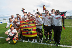 .Partick Thistle players cele winning the Scottish Football League Division One..Falkirk 0 v 2 Partick Thistle, 20/4/2013..© Michael Schofield.