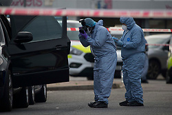 © Licensed to London News Pictures. 08/08/2020. Dagenham. A women in her 30s was found dead on Whalebone Lane in Dagenham, east London at 12:50pm and her death is treated as suspicious.<br /> Two hours later, a man also aged in his 30s was found dead on Gosfield Road. Met Police say the man's death is not being treated as suspicious and believe the two deaths are linked. Photo credit: Marcin Nowak/LNP