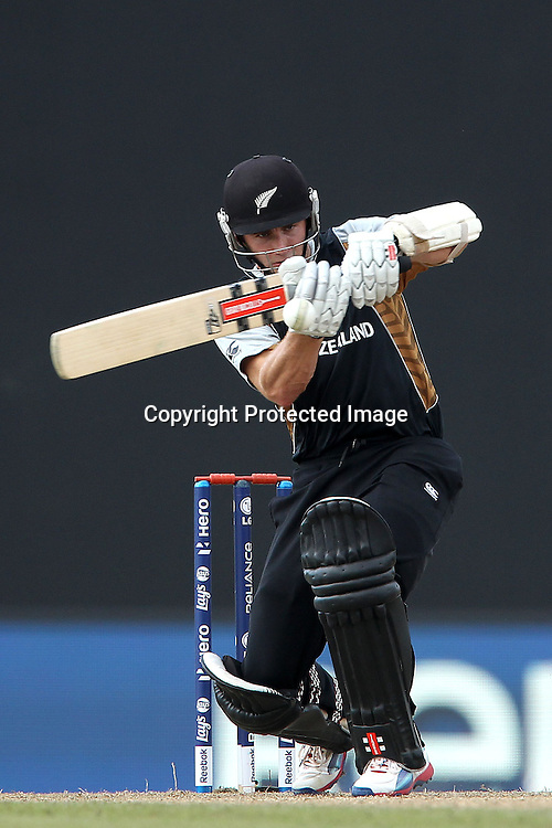 Kane Williamson faces a delivery from Stuart Broad (Captain) of England  during the ICC World Twenty20 Super 8s match between England and New Zealand held at the  Pallekele Stadium in Kandy, Sri Lanka on the 29th September 2012<br /> <br /> Photo byRon Gaunt/SPORTZPICS/PHOTOSPORT