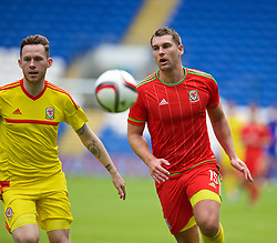 CARDIFF, WALES - Friday, June 5, 2015: Wales' Sam Vokes and Gethin Jones during a practice match at the Cardiff City Stadium ahead of the UEFA Euro 2016 Qualifying Round Group B match against Belgium. (Pic by David Rawcliffe/Propaganda)