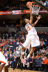 Virginia guard Sylven Landesberg (15) leaps for a layup against VMI.The Virginia Cavaliers defeated the Virginia Military Institute Keydets 107-97 in NCAA Basketball at the John Paul Jones Arena on the Grounds of the University of Virginia in Charlottesville, VA on November 16, 2008.
