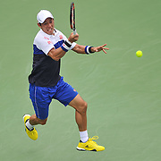 KEI NISHIKORI of Japan plays against Sam Groth of Australia at Day 5 of the Citi Open at the Rock Creek Tennis Center in Washington, D.C. Nishikori won in straight sets.