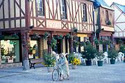 France, Brittany.  La Guerche-de-Bretagne.  Half-timbered houses.