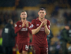WOLVERHAMPTON, ENGLAND - Friday, December 21, 2018: Liverpool's James Milner celebrates after beating Wolverhampton Wanderers 2-0 during the FA Premier League match between Wolverhampton Wanderers FC and Liverpool FC at Molineux Stadium. (Pic by David Rawcliffe/Propaganda)
