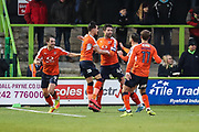 Luton Town's Alan Sheehan scores a goal 0-1 and celebrates during the EFL Sky Bet League 2 match between Forest Green Rovers and Luton Town at the New Lawn, Forest Green, United Kingdom on 16 December 2017. Photo by Shane Healey.