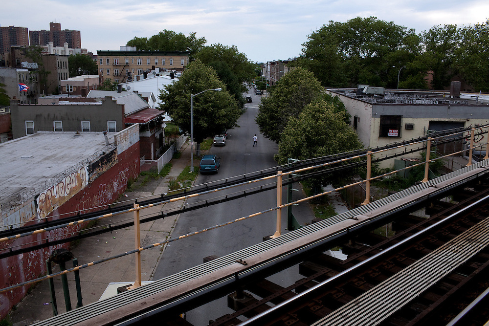The border of Brownsville and Bushwick from the Broadway Junction A train stop in New York on June 24, 2012.