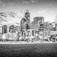 Charlotte skyline black and whote photo with Romare Bearden Park and downtown Charlotte city buildings. Charlotte is a major city in North Carolina in the Eastern United States.