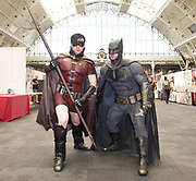 London Super Comic Con<br /> at Design Centre Islington, London, Great Britain <br /> 25th August 2017 <br /> <br /> Batman and Robin <br /> <br /> aka <br /> <br /> John Calls as Robin <br /> <br /> Shaun Campbell as Batman <br /> <br /> London Super Comic Con plays host to the latest comics, comic related memorabilia, superheroes and graphic novels fans have a chance to interact with their favourite creators, and  exhibitors showcasing items from comics to Cosplay, original art to toys.<br /> <br /> <br /> <br /> <br /> <br /> <br /> Photograph by Elliott Franks <br /> Image licensed to Elliott Franks Photography Services