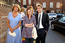 Left to right, LADY ANNABEL GOLDSMITH, and KATE & BEN GOLDSMITH at Sir David & Lady Carina Frost's annual summer party held in Carlyle Square, London on 6th July 2004.