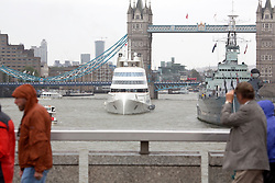 © Licensed to London News Pictures. 03/09/2016. A striking luxury motor yacht known simply as A has sailed up the Thames and under Tower Bridge. Designed by Philippe Starck and built in 2008, the unconventional 119m long luxury yacht has a distinctive knife-like hull. The $300million yacht was built for Russian billionaire Andrey Melnichenko but it was reported earlier this year he was selling the vessel after having a new, even bigger, $450 million yacht built. Credit: Rob Powell/LNP
