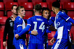 Kieran Phillips of Bristol Rovers celebrates with teammates after scoring a goal to make it 3-1- Mandatory by-line: Robbie Stephenson/JMP - 29/10/2019 - FOOTBALL - County Ground - Swindon, England - Swindon Town v Bristol Rovers - FA Youth Cup Round One